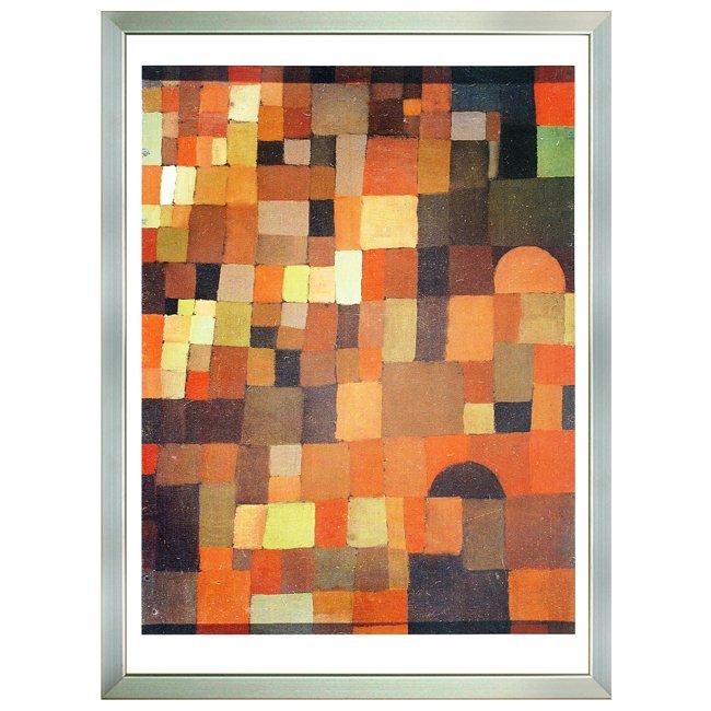 パウル・クレー�「町の眺め、赤と緑の階調 」 <br>プリハード世界の名画 額付