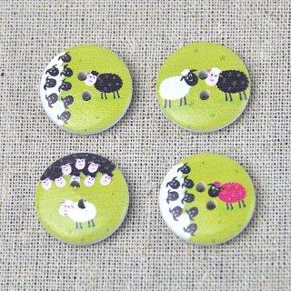 木製プリントボタン【羊】