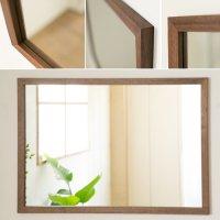 木枠の鏡 ブラックウォルナット材 800×600ミリサイズ 木枠幅30ミリタイプ 【会員様割引5%OFF】