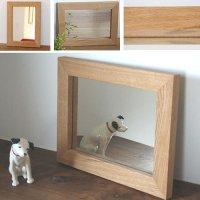 天然木100%の無垢材を使用したシンプルで味わい深い木枠の鏡  オーク(楢)Sサイズ