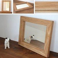 天然木100%の無垢材を使用したシンプルで味わい深い木枠の鏡  タモ材  Sサイズ