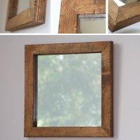 天然木100%のパイン材を古材風に仕上げたおしゃれな木枠の鏡 Sサイズ正方形 ライトブラウン