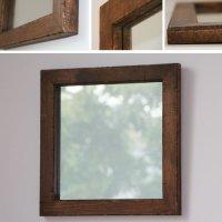 天然木100%のパイン材を古材風に仕上げたおしゃれな木枠の鏡 Sサイズ  正方形  ブラウン