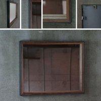 鉄枠と木枠の鏡 ブラックウォルナット材 奥行きのあるインダストリアルなデザイン 約520×約420mm