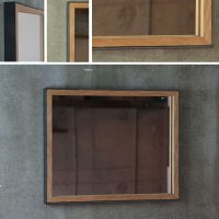 鉄枠と木枠の鏡 オーク材 奥行きのあるインダストリアルなデザイン 約520×約420mm