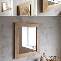 木枠の鏡 オーク材 H630×W530×D25mm  【会員様割引5%OFF】