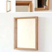 天然木100%の無垢材を使用した奥行きのあるスタイリッシュな木枠の鏡  タモ材 Mサイズ