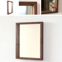 天然木100%の無垢材を使用した奥行きのあるスタイリッシュな木枠の鏡  ブラックウォルナット材 Mサイズ