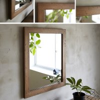 天然木100%のパイン材を古材風に仕上げたおしゃれな木枠の鏡 Mサイズ  ライトブラウン