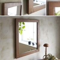 天然木100%のパイン材を古材風に仕上げたおしゃれな木枠の鏡 Mサイズ   ブラウン