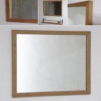 天然木100%の無垢材を使用したシンプルな木枠の鏡 オーク材 650×500サイズ  木枠幅30ミリタイプ