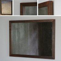 天然木100%の無垢材を使用シンプルな木枠の鏡 ブラックウォルナット材 650×500サイズ  木枠幅30ミリタイプ