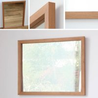 天然木100%の無垢材を使用したシンプルな木枠の鏡 ブラックチェリー材 650×500サイズ