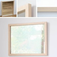 天然木100%の無垢材を使用したシンプルな木枠の鏡 ハードメープル材 650×500サイズ