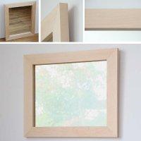 木枠の鏡 ハードメープル材 H630×W530×D25mm  【会員様割引5%OFF】