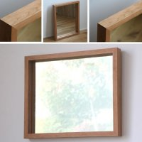 天然木100%の無垢材を使用した奥行きのあるスタイリッシュな木枠の鏡   ブラックチェリー材 Mサイズ
