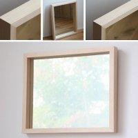 天然木100%の無垢材を使用した奥行きのあるスタイリッシュな木枠の鏡  ハードメープル材  Mサイズ