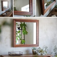 木枠の鏡 ダブルフレームミラー ブラックウォルナット 610×610mm 【会員様割引5%OFF】