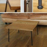 オーク&アイアン 存在感のあるローテーブル 60×60cm  【会員様割引5%OFF】