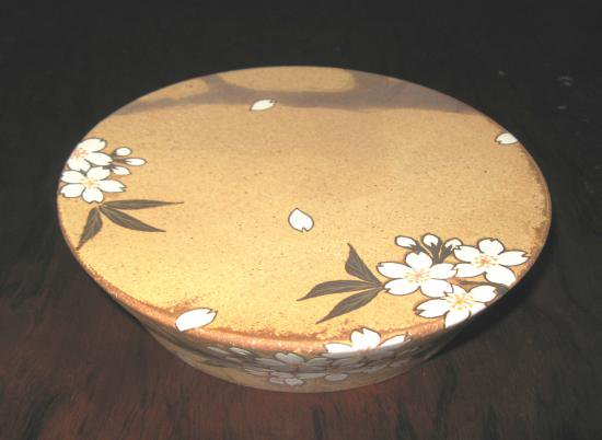 鉄絵掛分釉彩台皿「桜」