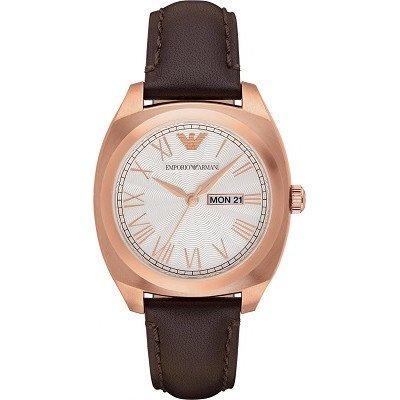 エンポリオアルマーニ腕時計/メンズ/AR1939/アイボリーダイアル/クラシック/デイデイト/ギョーシェ模様/レイルウェイ目盛り