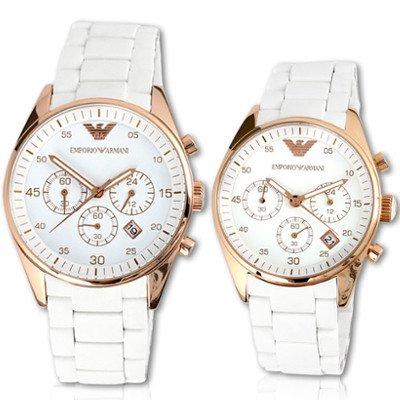 エンポリオアルマーニ腕時計/ペアウォッチ/メンズAR5919/レディースAR5920/ホワイトダイアル
