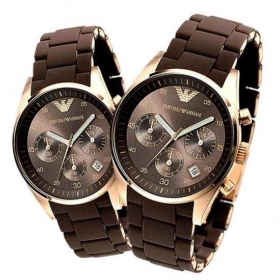 on sale aa676 bcaf8 エンポリオアルマーニ腕時計/ペアウォッチ/メンズAR5890/レディースAR5891/ブラウンダイアル - 【Armani-Side】