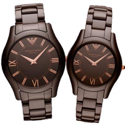 エンポリオアルマーニ腕時計/ペアウォッチ/メンズAR1444/レディースAR1445/ブラウンダイアル