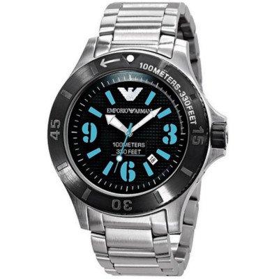 【海外限定モデル】エンポリオアルマーニ腕時計/メンズ/AR0630/ブラックダイアル/スポーツ/ダイバーズ/ブルーアラビアン、バー混合インデックス
