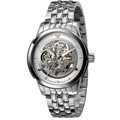 【日本未発売】エンポリオアルマーニ腕時計/メンズ/自動巻き/AR4626/スケルトンダイアル/シルバーダイアル/メカニコ 日本未発売の武骨かつ洗練されたモデル♪
