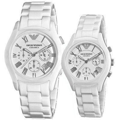 エンポリオアルマーニ腕時計/ペアウォッチ/メンズAR1403/レディースAR1404/ホワイトダイアル