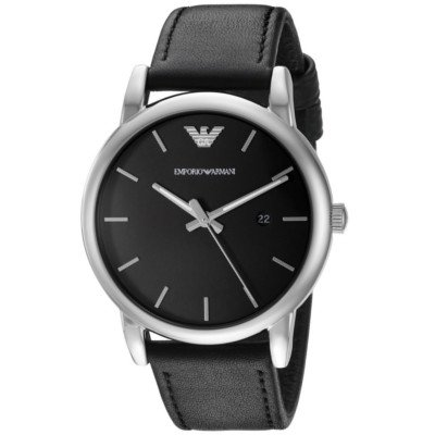 エンポリオアルマーニ腕時計/メンズ/AR1692/ブラックダイアル/クラシック/アップライトバーインデックス/デイト表示