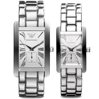 エンポリオアルマーニ腕時計/ペアウォッチ/メンズAR0145/レディースAR0146/レクタンギュラー/ブラックダイアル