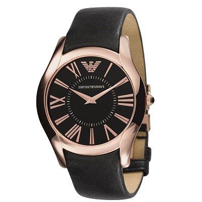 エンポリオアルマーニ腕時計/AR2043/メンズ/ブラックダイアル/ブラックレザーベルト/ローマンインデックス/2針モデル
