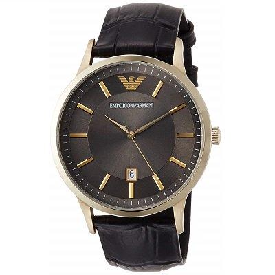 エンポリオアルマーニ腕時計/メンズ/AR11049/グレーダイアル/レザーベルト/デイト