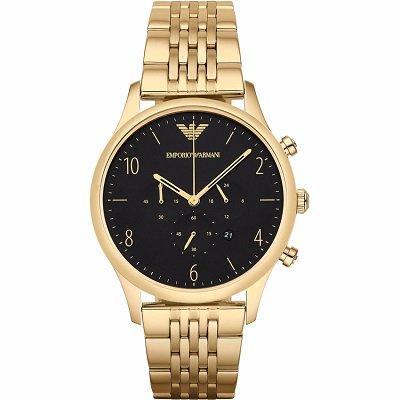 エンポリオアルマーニ腕時計/メンズ/AR1893/ブラックダイアル/クラシック/ゴールドベルト/クロノグラフ
