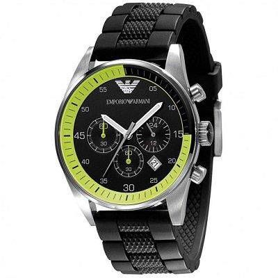 エンポリオアルマーニ腕時計/メンズ/AR5865/ブラックダイアル/スポーツ/クロノグラフ