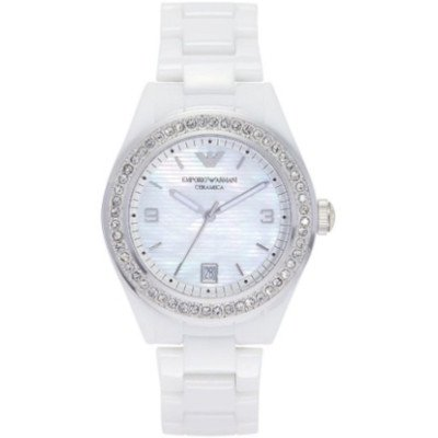 エンポリオアルマーニ腕時計/レディース/AR1426/マザーオブパールダイアル/ホワイトセラミックベルト/セラミカ/クロノグラフ/アップライトインデックス