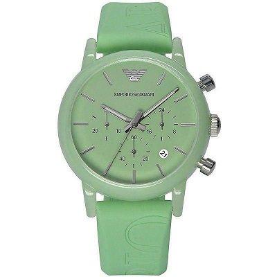 エンポリオアルマーニ腕時計/レディース/AR1057/グリーンダイアル/クラシック/グリーンラバーベルト