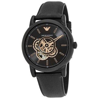 【2020年新作】エンポリオアルマーニ腕時計/メンズ/AR60012/自動巻き/スケルトンダイアル/ブラックレザーベルト/メカニコ