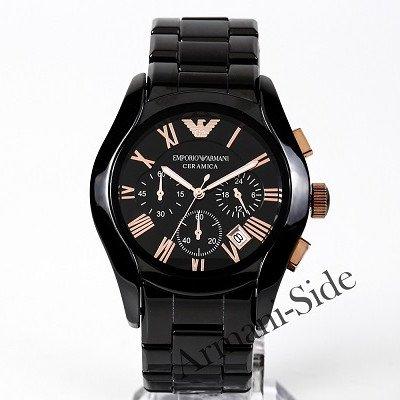 エンポリオアルマーニ腕時計/メンズ/AR1410/ブラックダイアル/セラミカ/ローズゴールドローマンインデックス/クロノグラフ