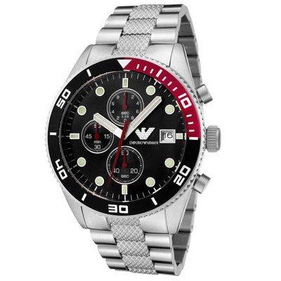 エンポリオアルマーニ腕時計/メンズ/AR5855/コインエッジ/ブラックダイアル/スポーツ/クロノグラフ