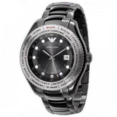 エンポリオアルマーニ腕時計/メンズ/AR0587/ブラックダイアル/クラシック/ワールドタイム