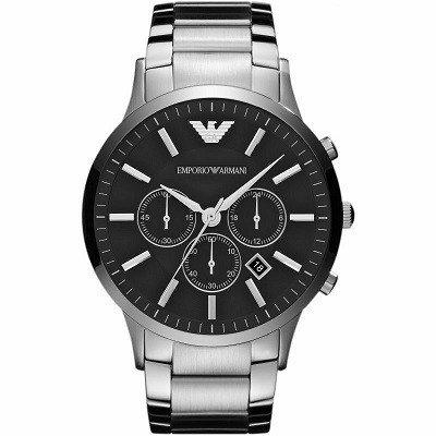 エンポリオアルマーニ腕時計/メンズ/AR2460/ブラックダイアル/クラシック/アップライトバーインデックス/クロノグラフ