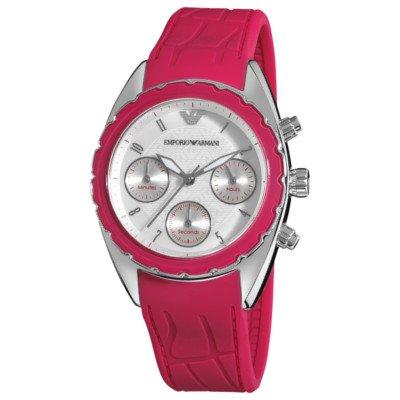 エンポリオアルマーニ腕時計/レディース/AR5937/ホワイトダイアル/スポーツ/ピンクラバーベルト/クロノグラフ