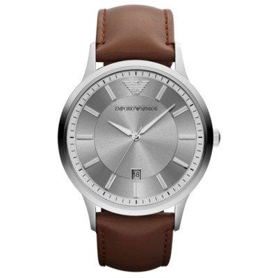 エンポリオアルマーニ腕時計/メンズ/AR2463/シルバーダイアル/クラシック/ブラウンレザーベルト/デイト
