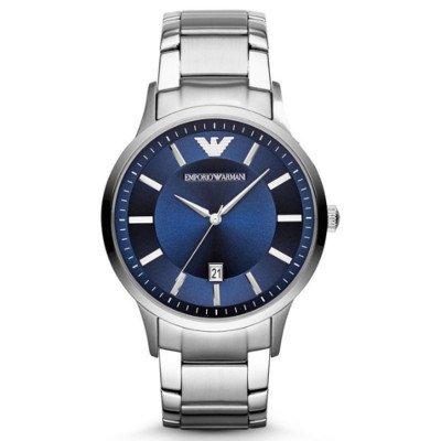 エンポリオアルマーニ腕時計/メンズ/AR2477/ブルーダイアル/クラシック/アップライトバーインデックス/シルバーベルト/デイト