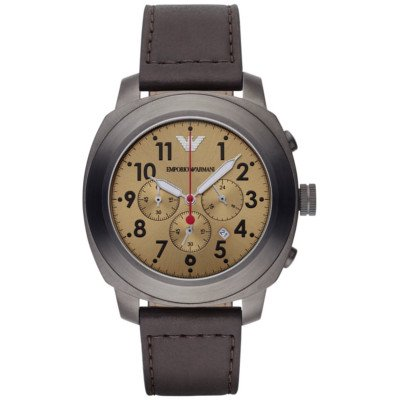 エンポリオアルマーニ腕時計/メンズ/AR6055/ゴールドダイアル/スポーツ/ブラウンレザーベルト/クロノグラフ/デイト