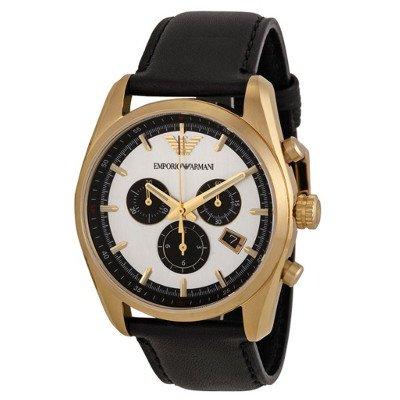 エンポリオアルマーニ腕時計/メンズ/AR6006/シルバーダイアル/スポーツ/ブラックレザーベルト/クロノグラフ