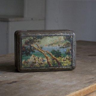 ブリキ缶/樹木と海の風景/ヴィンテージ